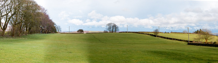 wharfedale: Beautiful Yorkshire countryside on the hills near Keighley, West Yorkshire, United Kingdom. Panorama.