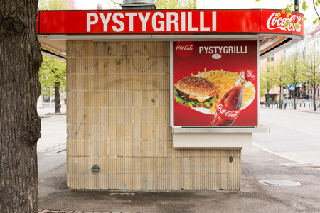 summer olympics: Old food stall in central Helsinki, Finland. This particular food (Pystygrilli) stall was built for 1939 Helsinki Summer Olympics.