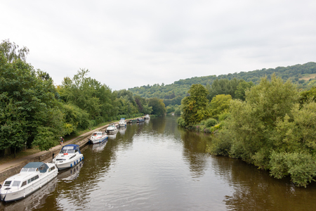 River Thames, viewed from the High Street of Streatley, Berkshire, England. Overcast weather. Editorial