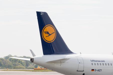 stabilizer: Lufthansa A319-100 narrow-body passenger plane (D-AIZY) vertical stabilizer, Manchester International Airport. Editorial