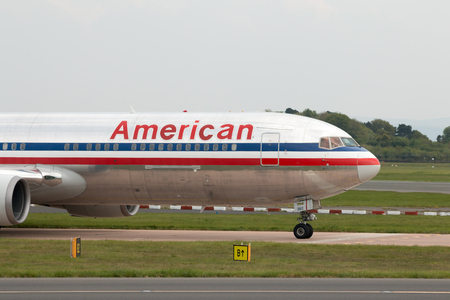 american airlines: American Airlines Boeing 767-323(ER) wide-body passenger plane (N362AA) taxiing on Manchester International Airport tarmac. Editorial