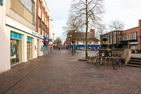 town centre: Beeston town centre in Nottinghamshire, during cloudy December morning.