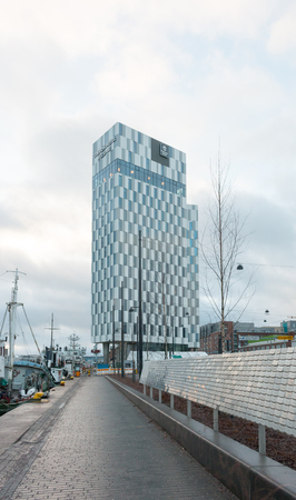 Newly built high-rise Clarion Hotel in Helsinki, Finland. This new high-rise landmark is 78 metres high and it has 425 rooms. The hotel has also rooftop pool.