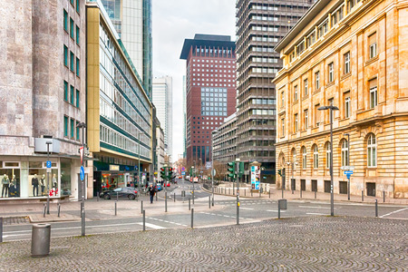 Streets of Frankfurt am Main, the largest city in the German state of Hesse and major European financial hub. HDR.