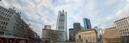Streets of Frankfurt am Main, the largest city in the German state of Hesse and major European financial hub. Panorama.