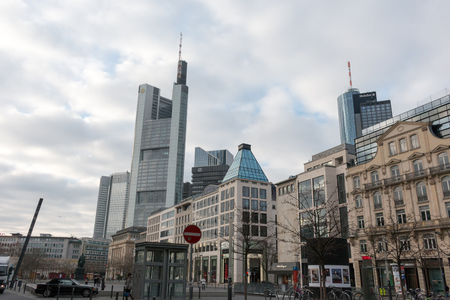 Streets of Frankfurt am Main, the largest city in the German state of Hesse and major European financial hub. Editorial