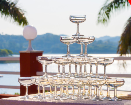 Wineglasses array for the toast Stock Photo