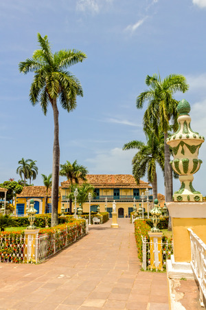 TRINIDAD, CUBA - JULY 22, 2014: Center park of Trinidad city. Worldwide Patrimony of humanity since 1988. Third village founded by the Spanish Crown in Cuba. A colonial architecture visited by a lot of tourist.