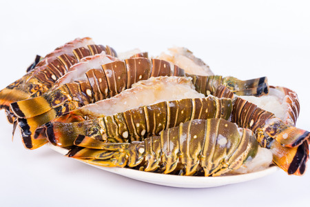 Raw lobster tails on a white plate ready to cook