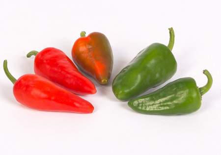 Group of pepper on white backgound.