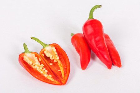 Group of pepper on white backgound, Outside and inside view.