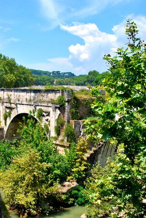 Ruins of the Ponte Rotto, on the Tiber river in Rome