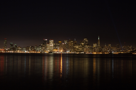 San Francisco skyline as seen from the bay on a rare clear winters night. Stock Photo