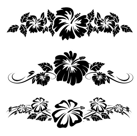 hawaii: Various hibiscus hawaiian tropical flowers
