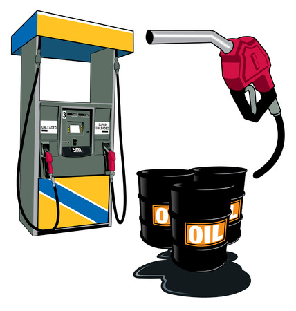 Gas station and barrels of oil and gas nozzle
