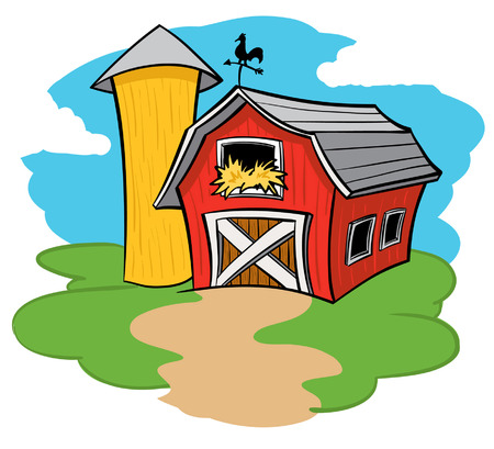 barnyard: Barn and Silo Illustration