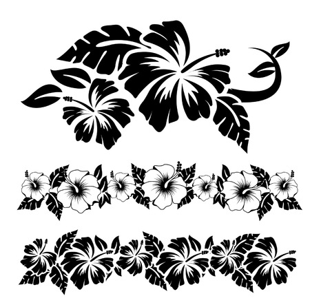 floral print: Various hibiscus hawaiian tropical flowers