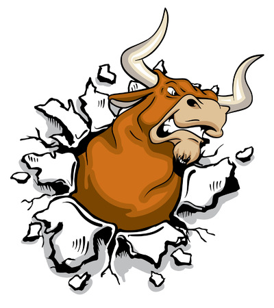 red bull: Angry mad bull bursting through wall Illustration
