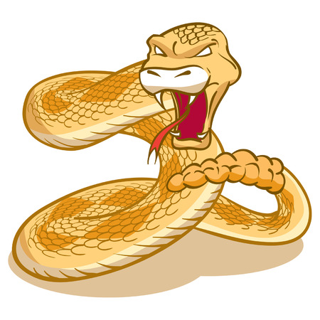 Rattlesnake curled and ready to strike Illustration