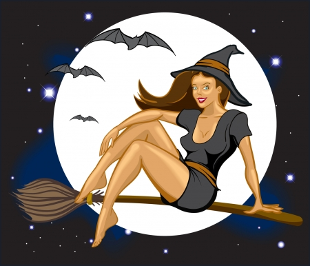 Sexy witch flying by full moon on broomstick with bats Illustration