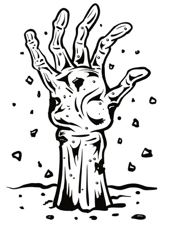 Zombie hand Bursting out of ground Vector