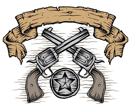 vintage gun: weathered banner and western guns