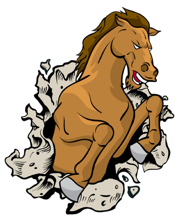 busting: Wild Horse busting through wall Illustration