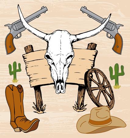 viejo oeste: Obras de arte de vaquero del viejo oeste occidental y dibujado a mano cr�neo del buey