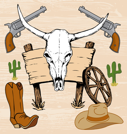Western old west cowboy artwork and hand drawn steer skull