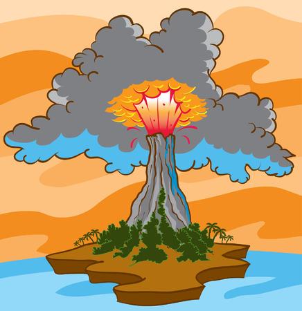 cloud smoke volcano eruption Illustration