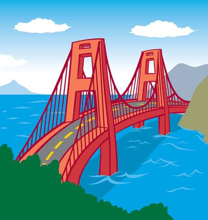 赤い橋の自然  イラスト・ベクター素材