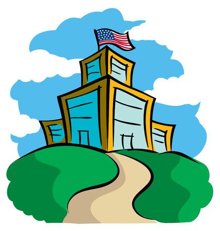 Moderne School vlag die college Building