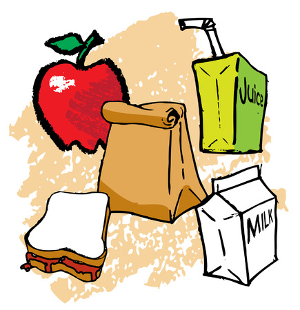 Kids School bagged Lunch Vector