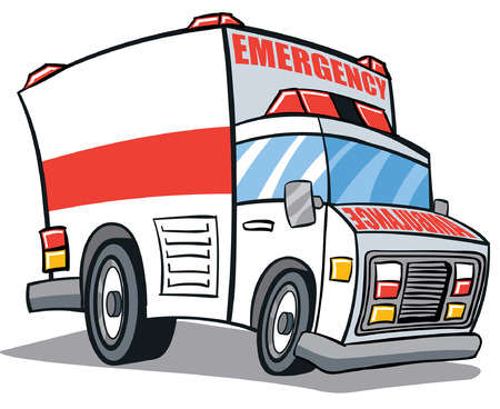 red white Ambulance Cartoon Illustration