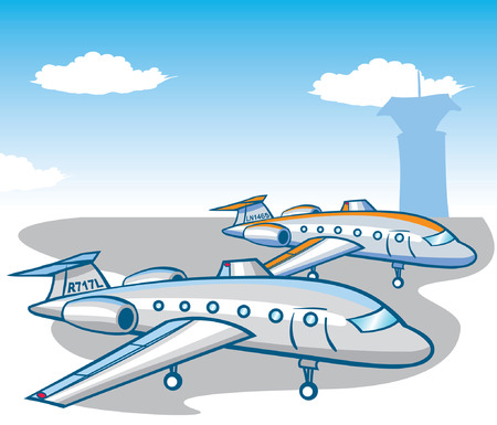 Airport two planes clouds Vector