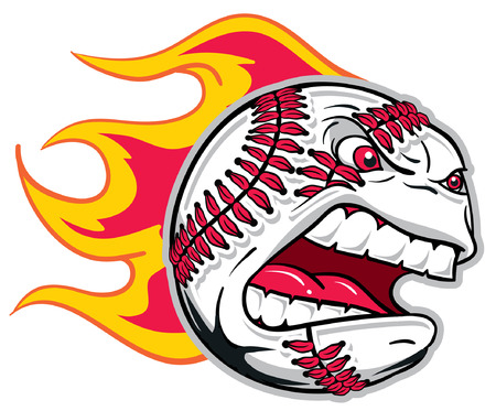 flamed: Flamed Angry Baseball Illustration