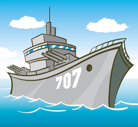 azul marino: Cartoon Acorazado Vectores