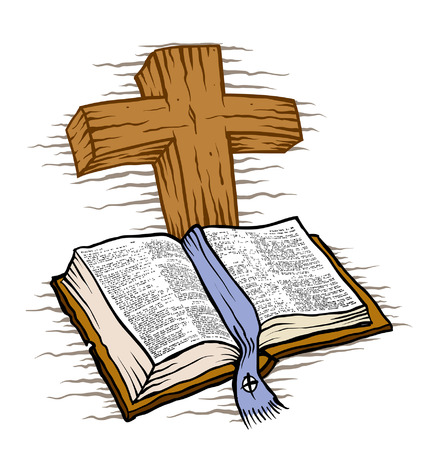 성경과 나무 십자가 일러스트