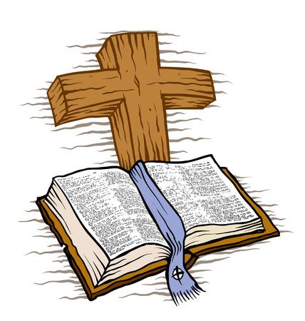 arrepentimiento: Cruz Biblia y madera Vectores