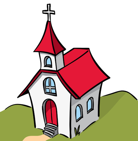 red and white stepled church Vector