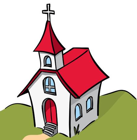 rode en witte stepled kerk Stock Illustratie