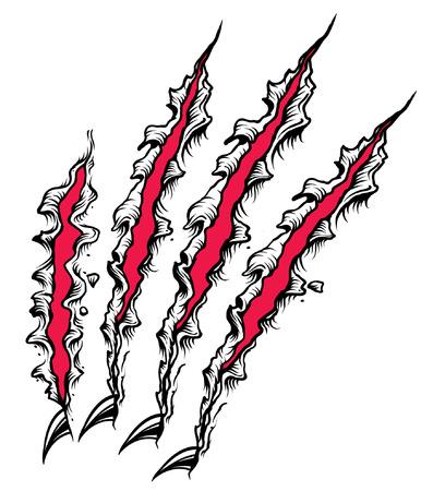 赤と黒の爪スクラッチ  イラスト・ベクター素材