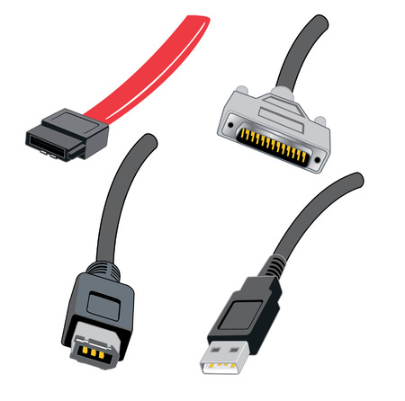 Various connection computer cable wires Stock Illustratie