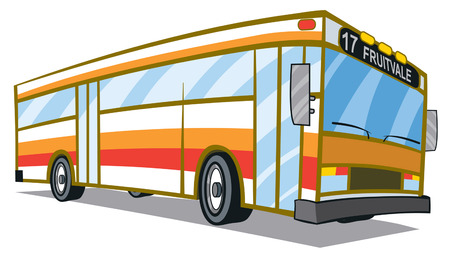 Orange red City Bus Vector
