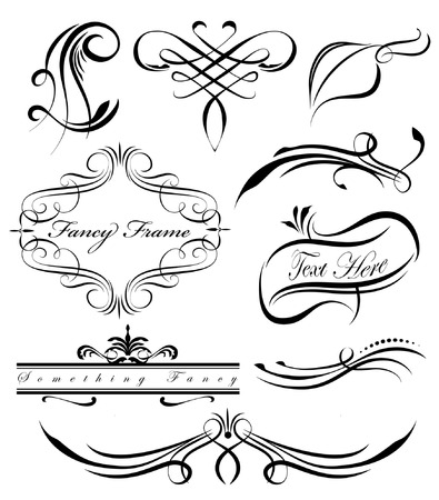 fancy swirls page spacers dividers Vector