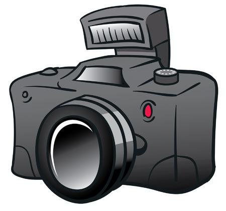 黒のデジタル カメラの漫画