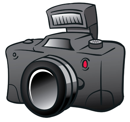 검은 디지털 카메라 만화