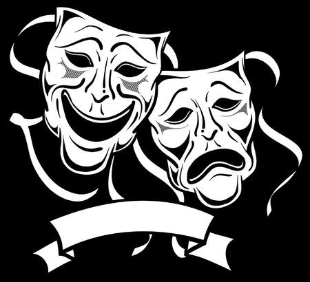 casting: Schwarz-Wei�-Drama Masken Illustration