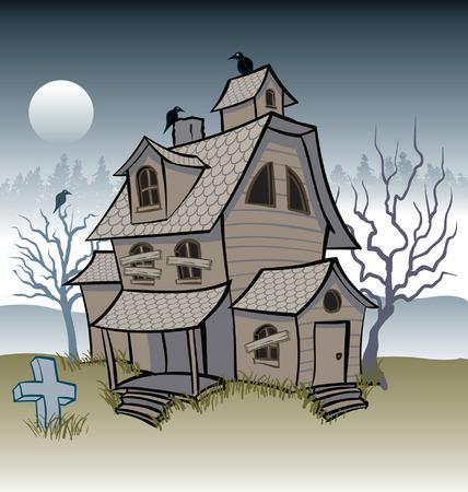 haunted house: Weathered Creepy Haunted House
