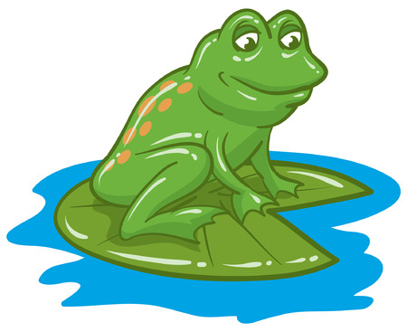 Happy Green Frog On Lily Pad